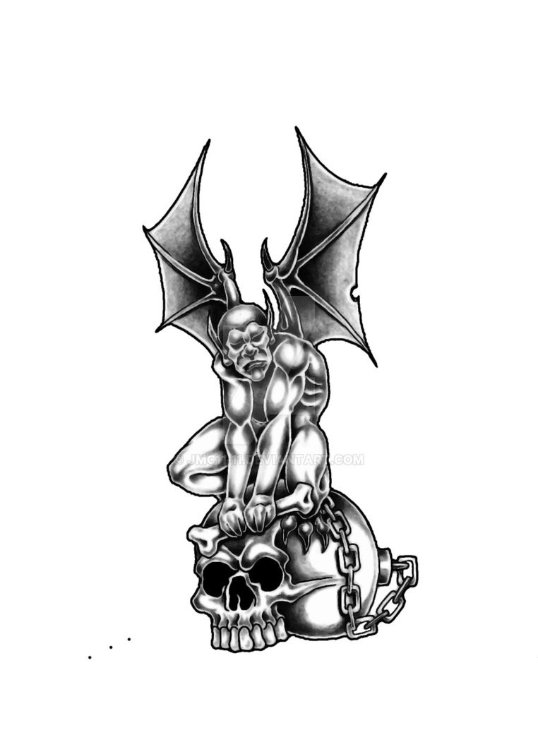 Grey chained gargoyle sitting on a huge human skull tattoo design