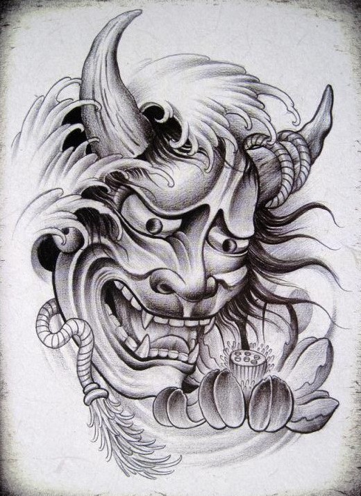 Grey chinese devil with a rope and lotus bud tattoo design