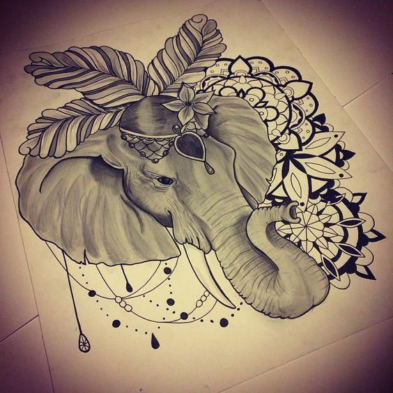 Grey Circus Elephant Head With Mandala Flowers Tattoo Design