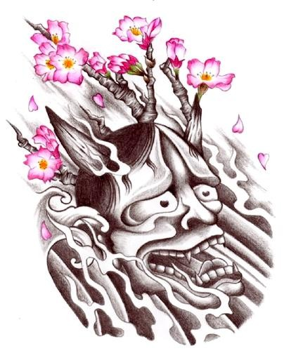 Grey crying devil and pink cherry blossom tattoo design