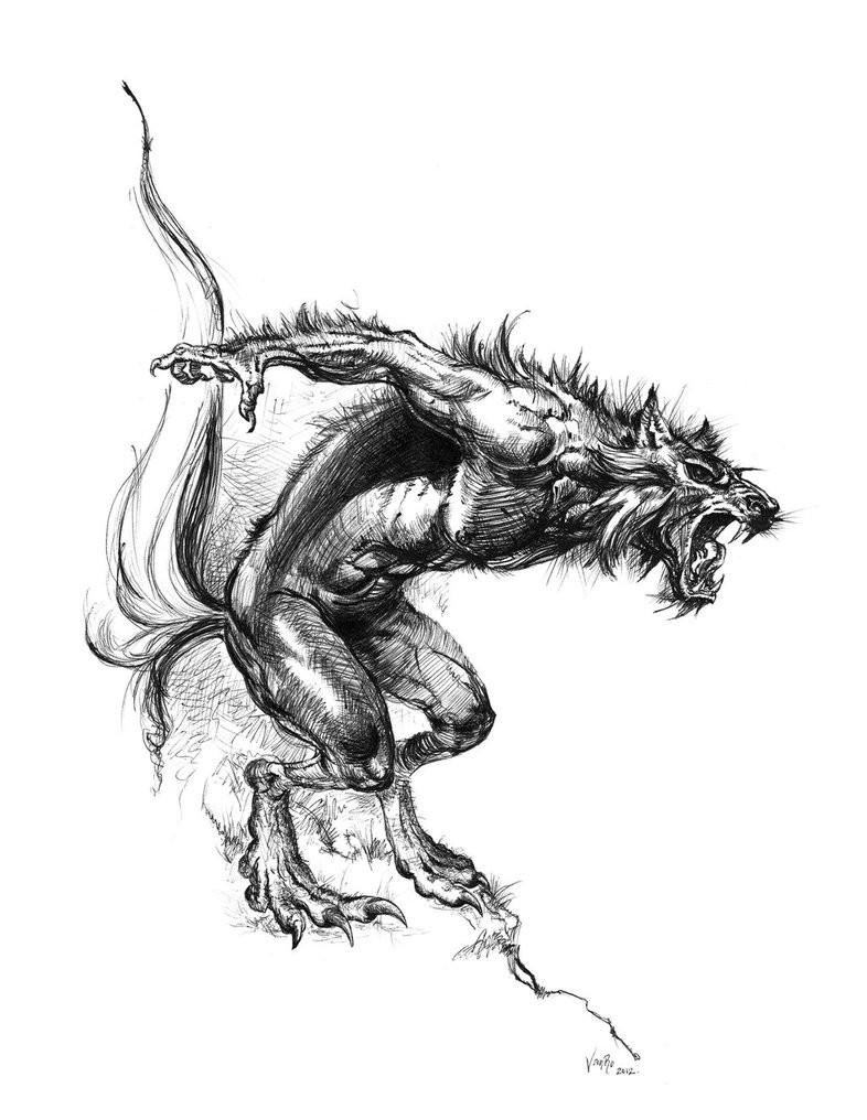 Grey crying jumping werewolf tattoo design by Kosvarn