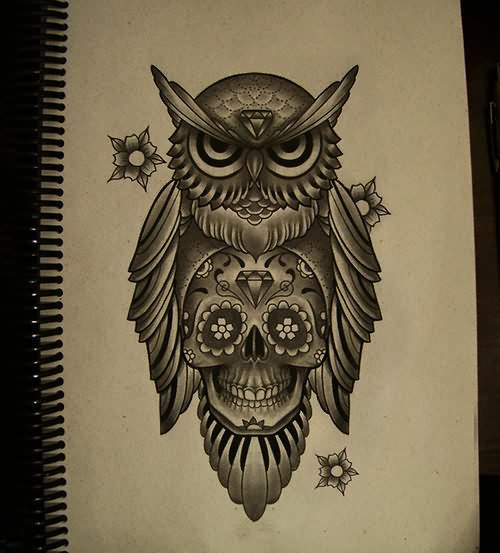 Grey diamond forehead owl and sugar skull tattoo design
