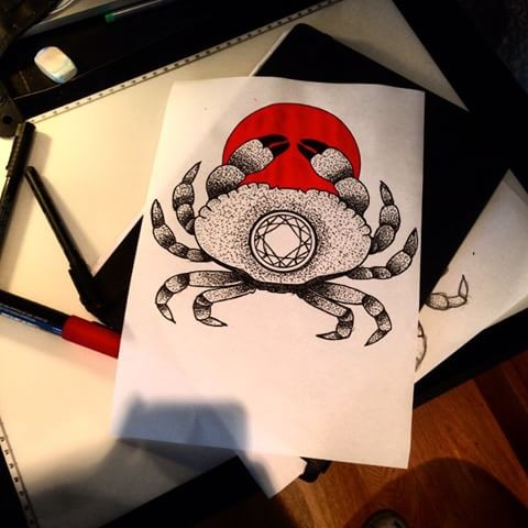 Grey dotwork crab with geometroc circle print on red spot background tattoo design