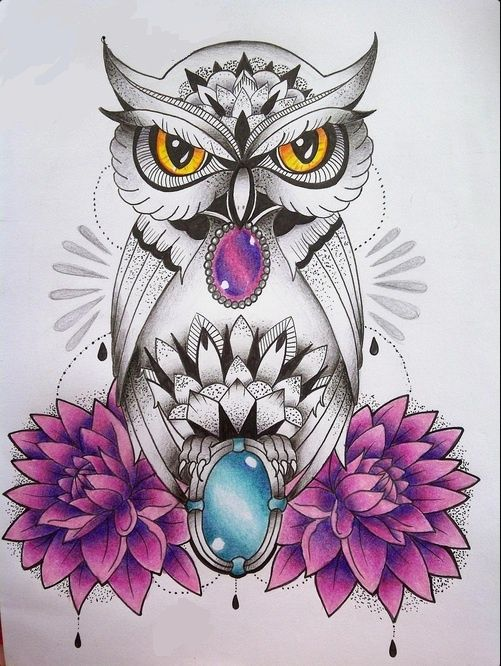 Grey dotwork owl with gem decorations and purple flowers tattoo design