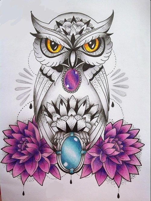 Grey dotwork owl with gem decorations and purple flowers tattoo design -  Tattooimages.biz