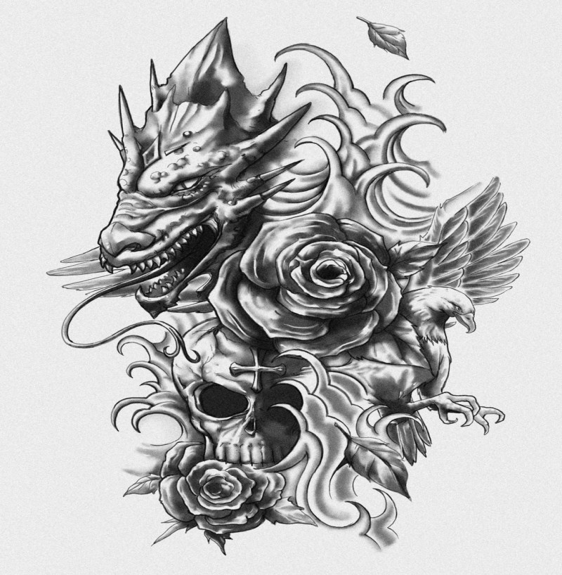 Grey dragon head with flying dove and skull with rose bud tattoo design