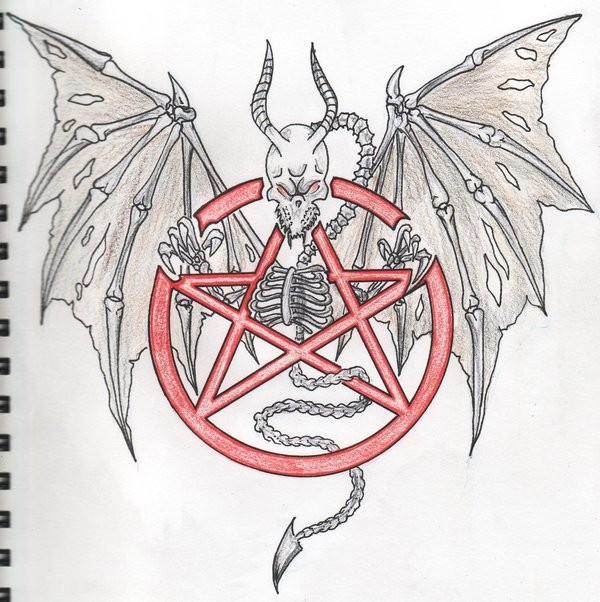 Grey dragon skeleton and red sacred star sign tattoo design by Dsgraphix