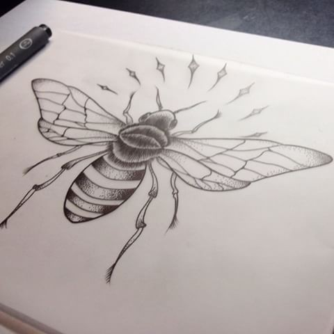 Grey drawn bee with shining sparcles tattoo design