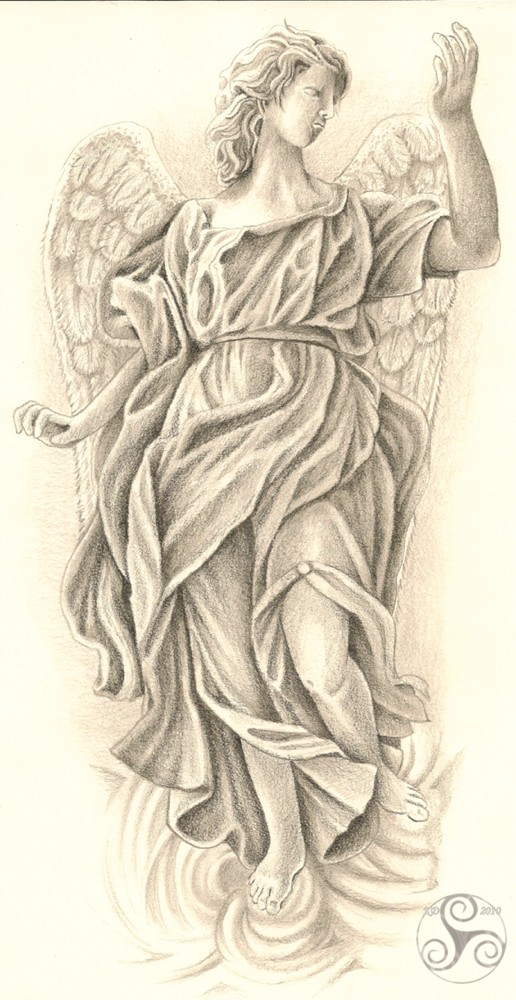 Grey elegant angel tattoo design by Triscal Goddess