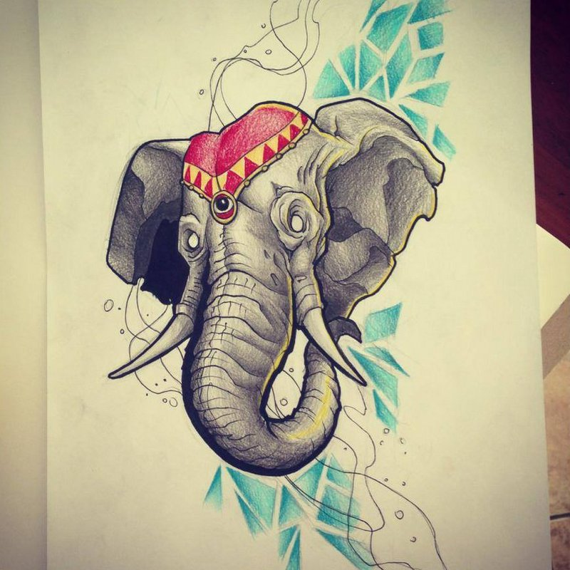 Grey elephant in red hat on blue rhombus background tattoo design