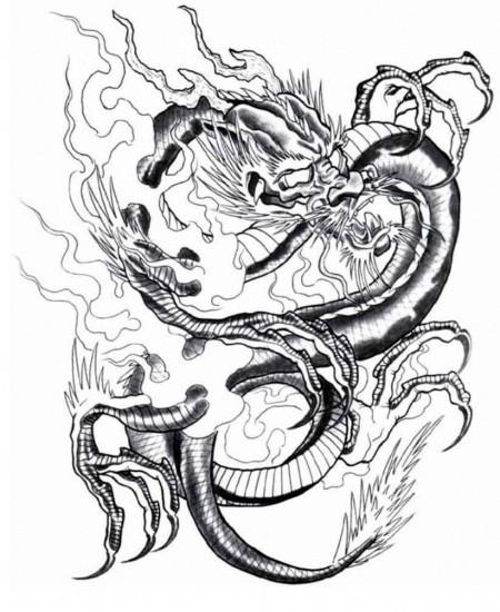 Grey empty-eyed asian dragon in smoke tattoo design