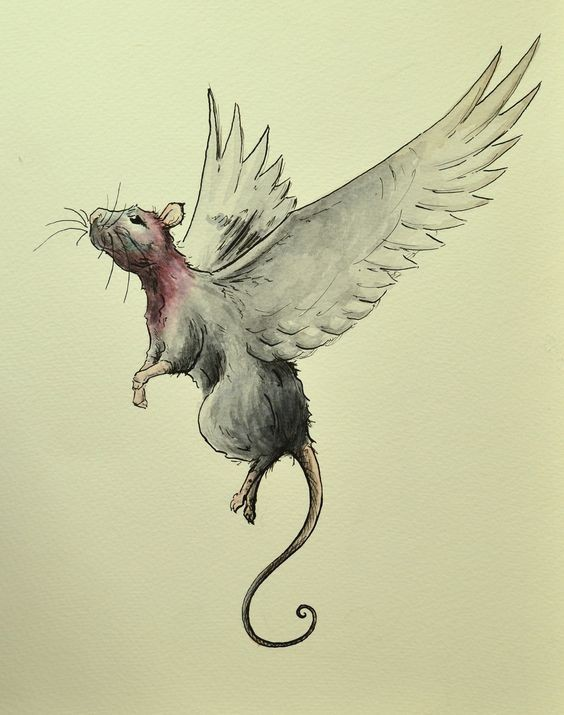 Grey flying rodent with angel wings tattoo design