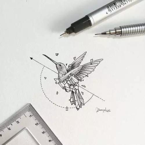 Grey geometric bird pierced with long arrow tattoo design