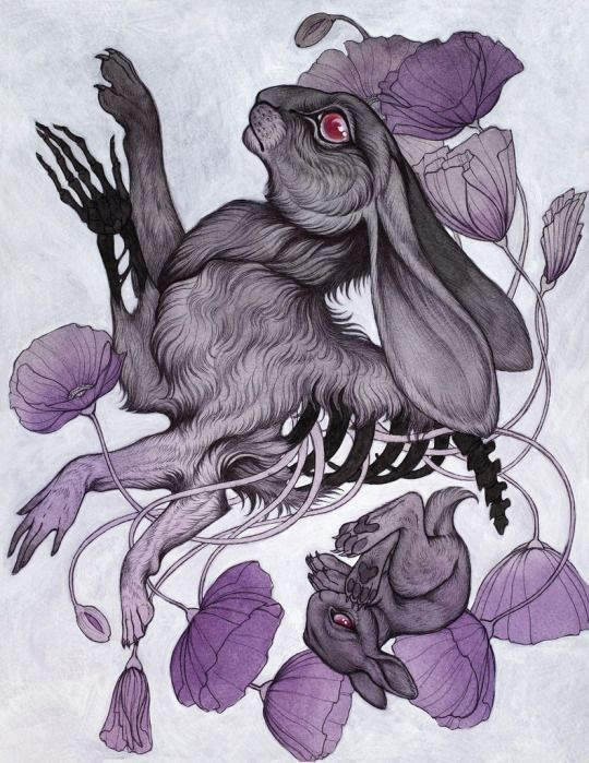 Grey half-skeleton rabbit on falling purple petals background tattoo design