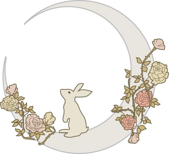 Grey hare and half moon entwined with roses tattoo design