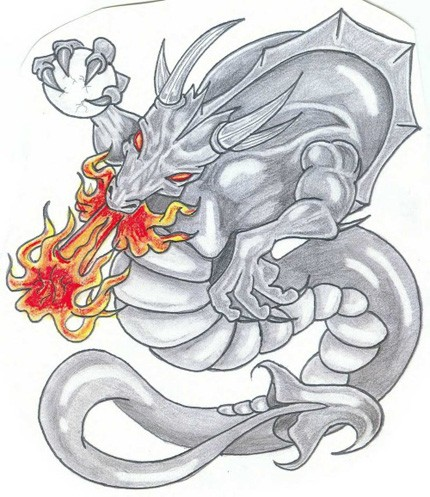 Grey horned demon dragon breathing with red fire tattoo design