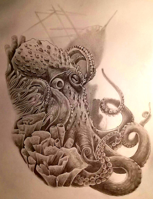 Grey horned octopus on sea weed bottom tattoo design