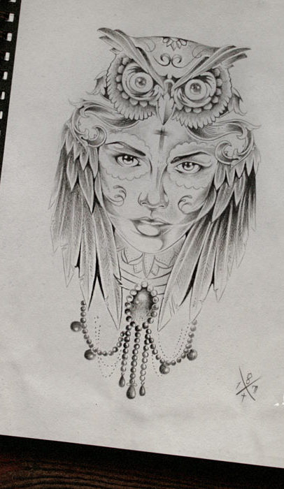 Grey indian wonam and owl head tattoo design