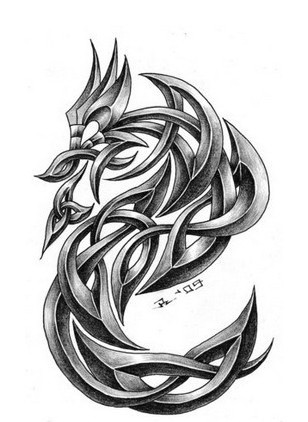 Grey iron dragon in celtic style tattoo design