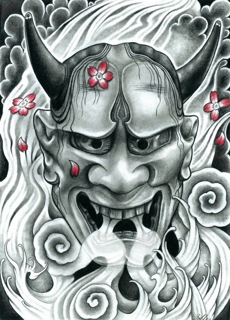 Grey japanese devil face and pink falling cherry blossom tattoo design