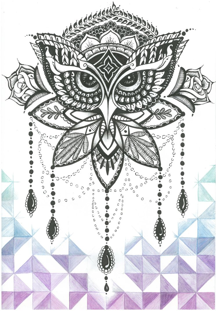 Grey lace ornamented owl tattoo design by Jolene Esousa