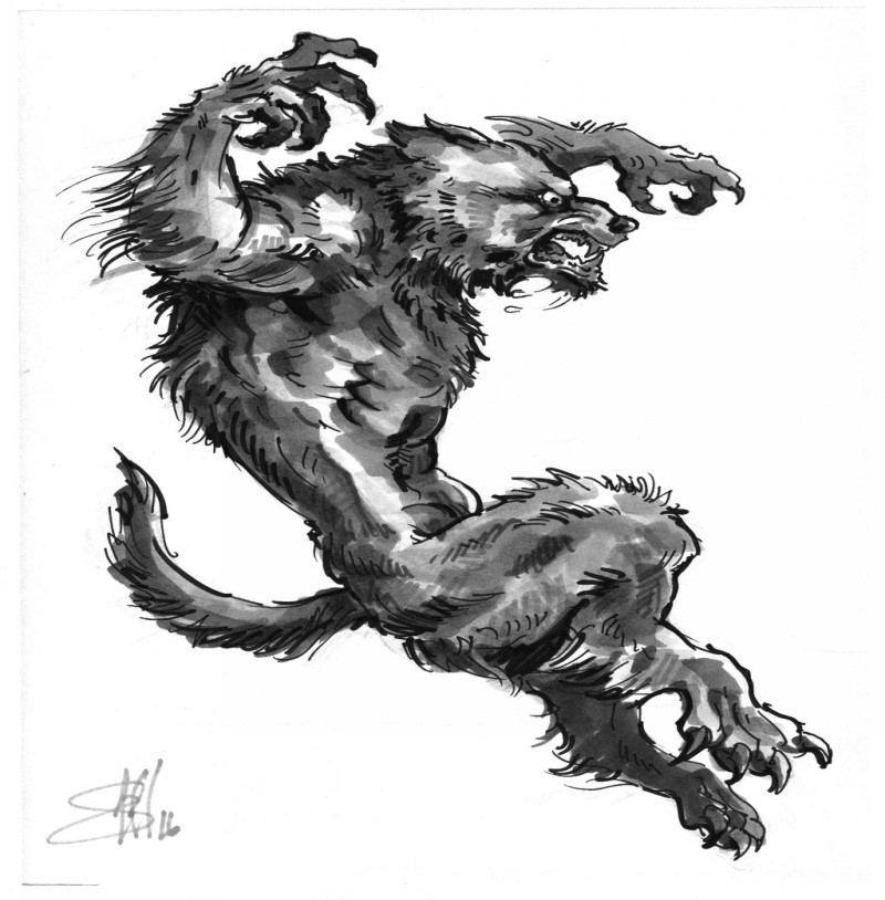 Grey leaping werewolf tattoo design by Scott Macaulay