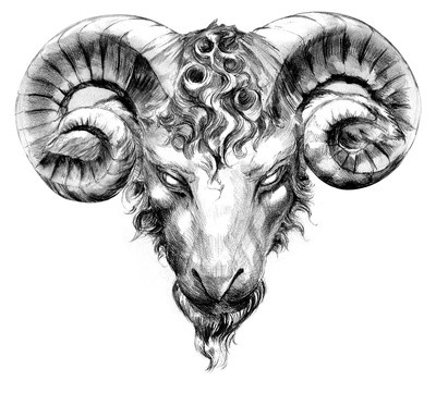 Grey mad-eyed ram head with curled forelock tattoo design