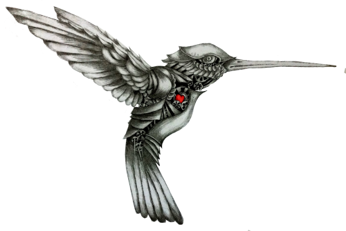 Grey mechanical hummingbird with red heart tattoo design