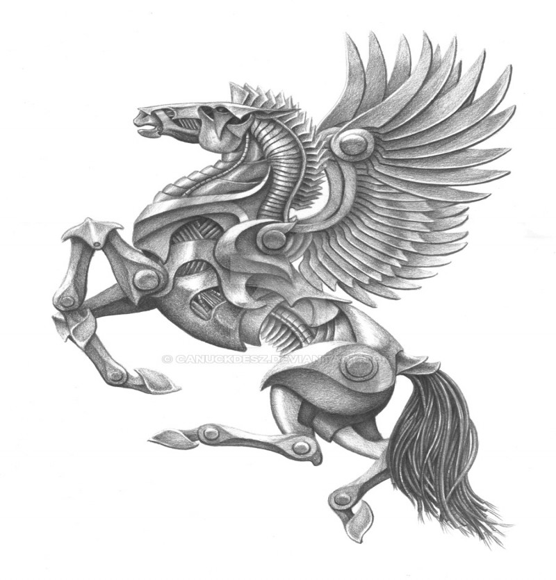 Grey mechanical jumping pegasus tattoo design by Canuckdesz