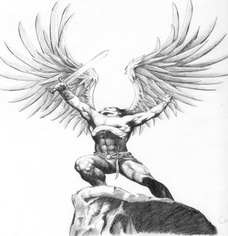 Grey muscular angel warrior winner tattoo design by Cirker