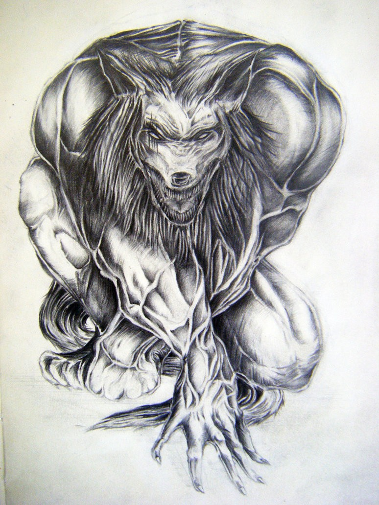 Grey muscular werewolf with swollen veins tattoo design by Synystersca