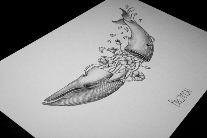 Grey original whale with floral insides tattoo design