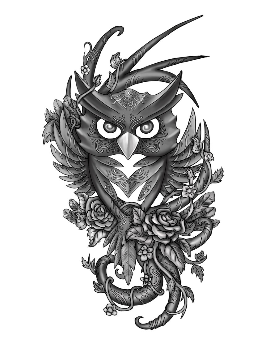 Grey owl sotting on flowered branch tattoo design by Jovictory