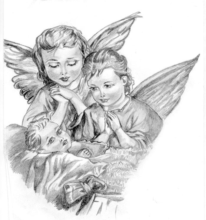 Grey pencilwork angel children tattoo design