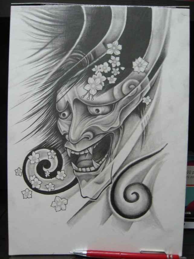 Grey pencilwork japanese demon face with cherry blossom tattoo design by Vstattoo
