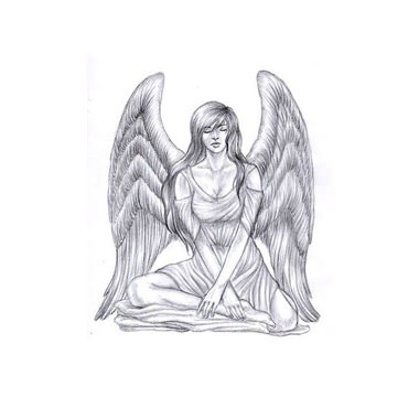 Grey pencilwork meditating woman angel tattoo design