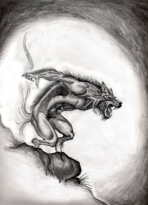 Grey pencilwork screaming werewolf standing on the stone tattoo design by Janis Brooks