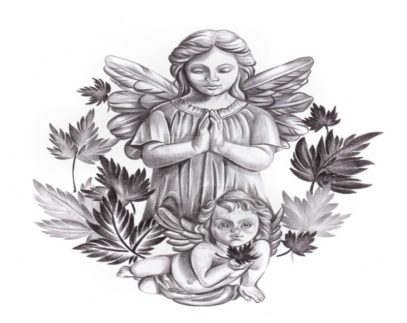 Grey praying angel children with tree leaves tattoo design by Inkaddicted 4 Life