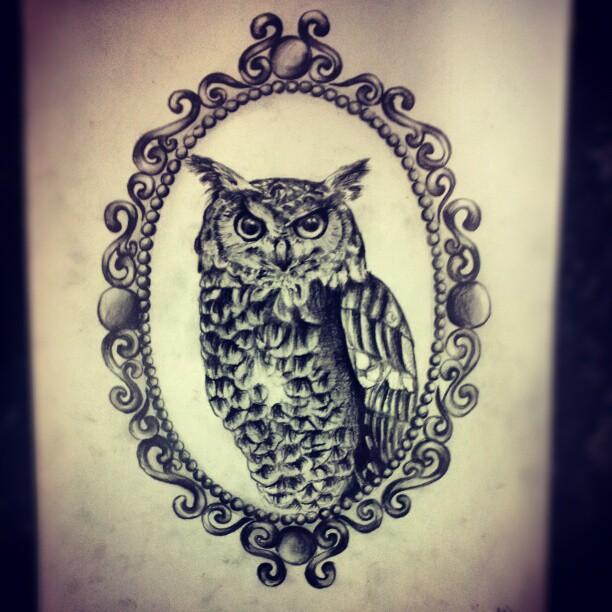 Grey realistic owl in mirror frame tattoo design
