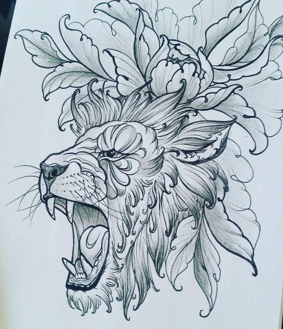 Grey roaring lion and peony flower tattoo design