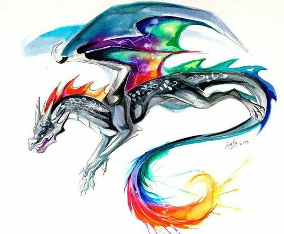 Grey running dragon with multicolor rainbow wings and tail tattoo design