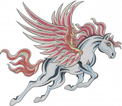 Grey running pegasus with red mane and tail tattoo design