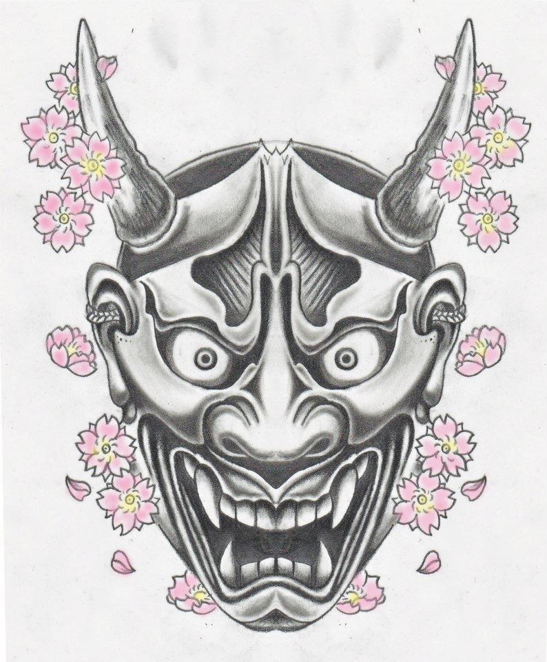 Grey screaming devil face and rosy cherry blossom tattoo design