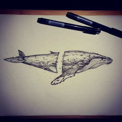 Grey separated whale tattoo design