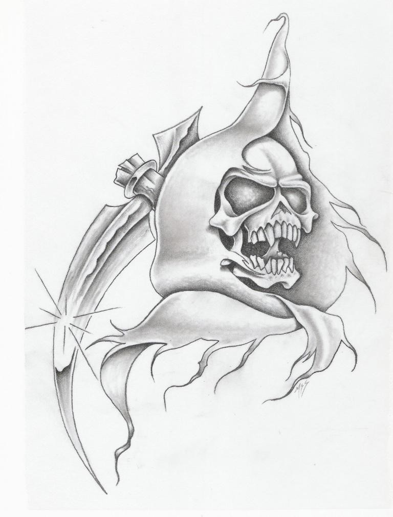 Grey sinisted death with a sharp shining scythe blade tattoo design