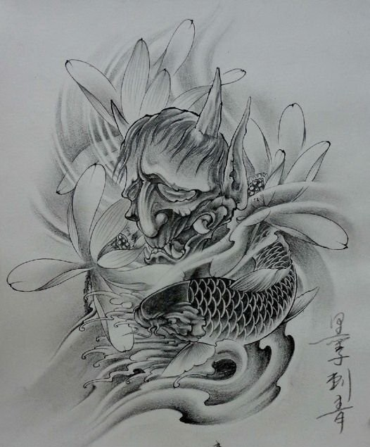 Grey Sorowful Devil Head With Big Lotus Flowers And Koi Fish Tattoo