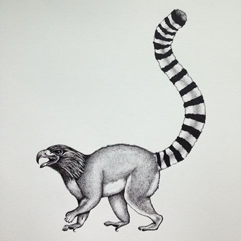 Grey stealing up lemur with eagle head tattoo design