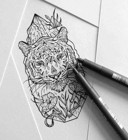 Grey tiger portrait with geometric and floral elements tattoo design