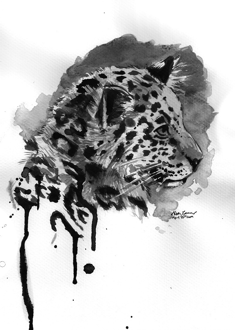 Grey watercolor baby jaguar in smudges tattoo design by Dragon Phase