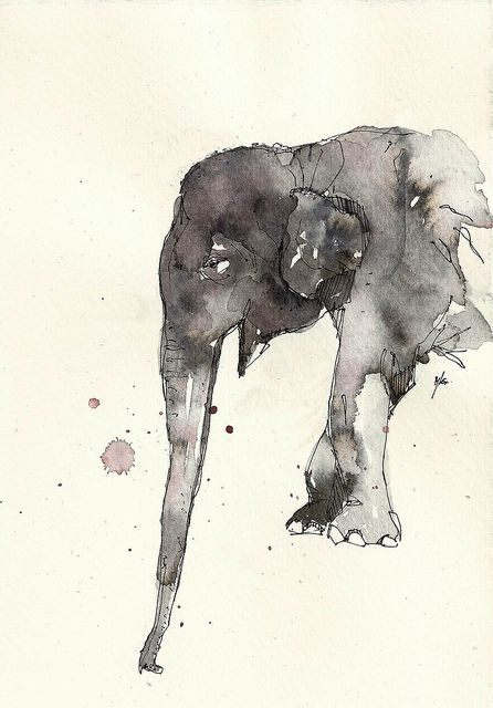 Grey watercolor elephant in profile tattoo design